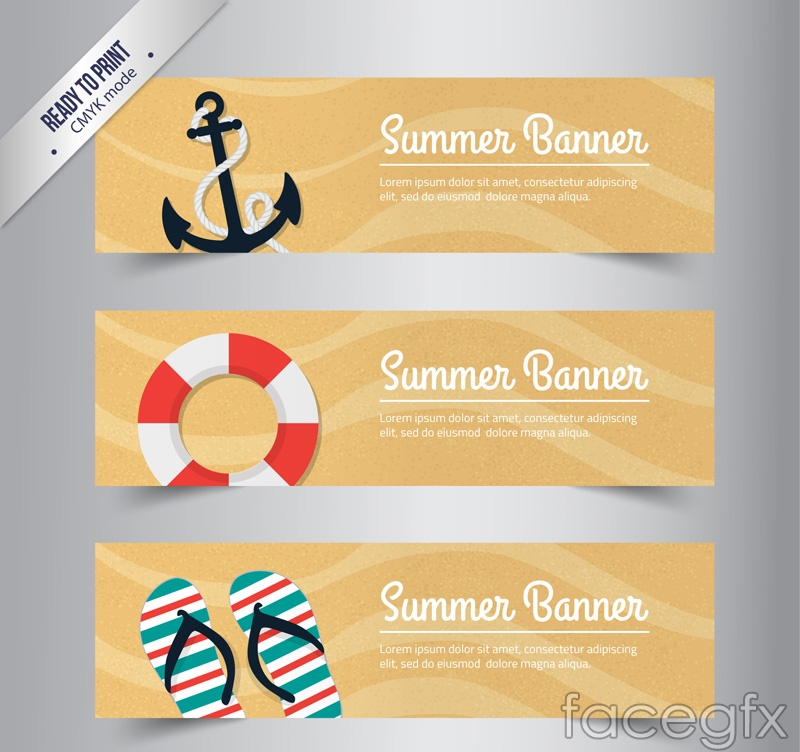 3 summer vacation banner vector
