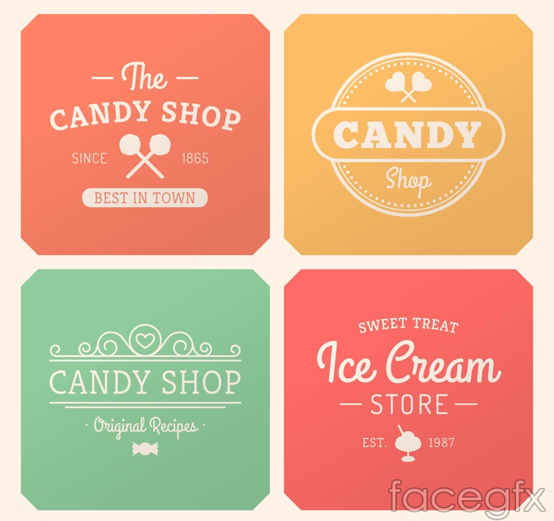 4 color dessert card vector