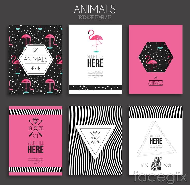 6 color animal brochures vector diagrams