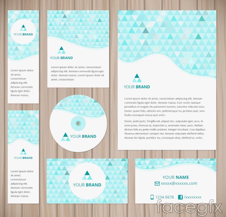 6 green triangular business cards vectors