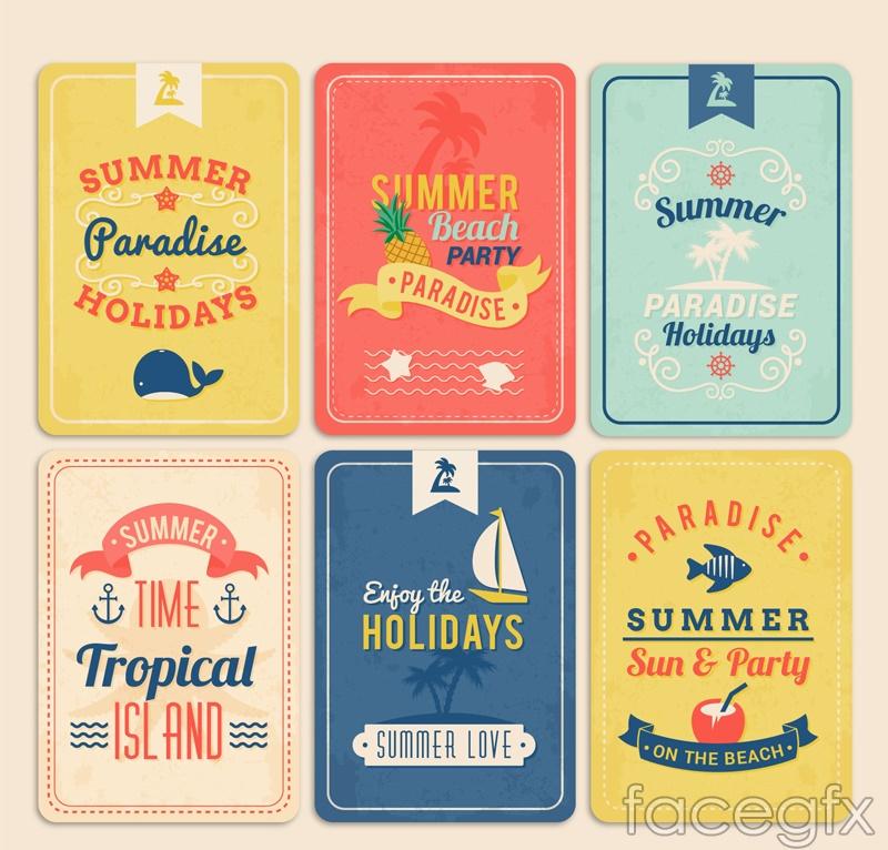 6 vintage summer card vector