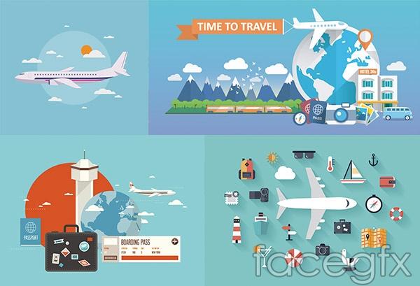 Airplane travel icon vector