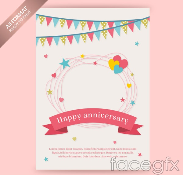 Anniversary greeting cards vector