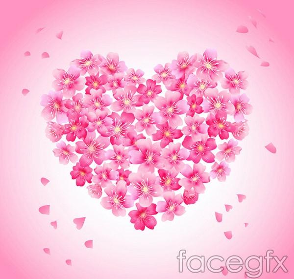 Combination of cherry love vector