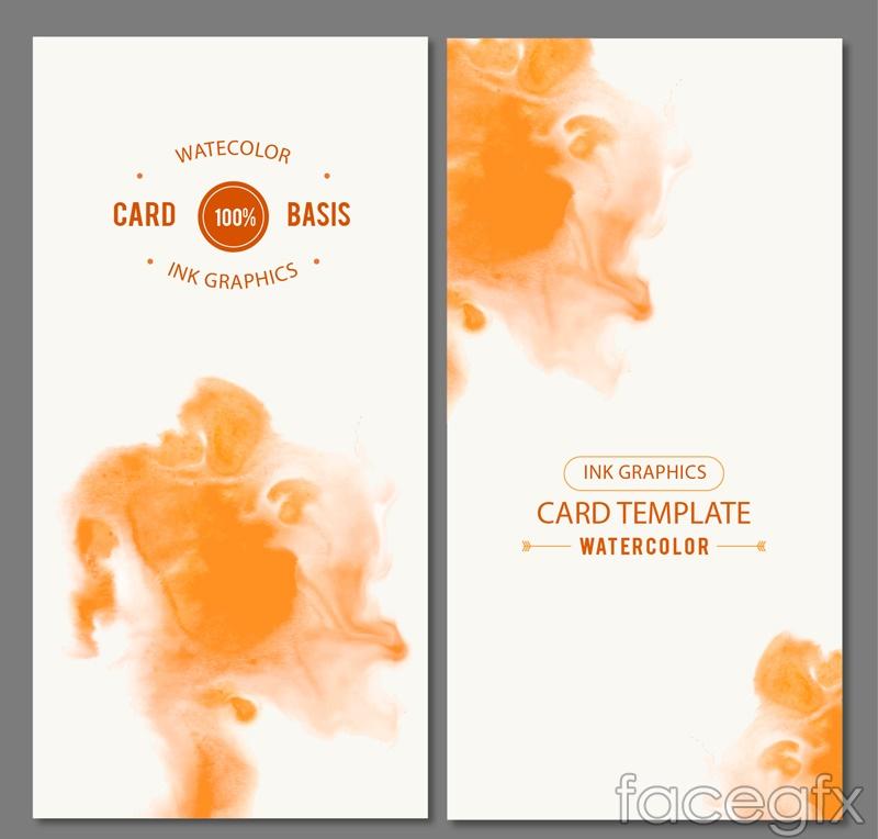 2 Orange watercolor card vector