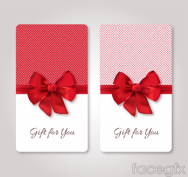 2 red bow gift card vector
