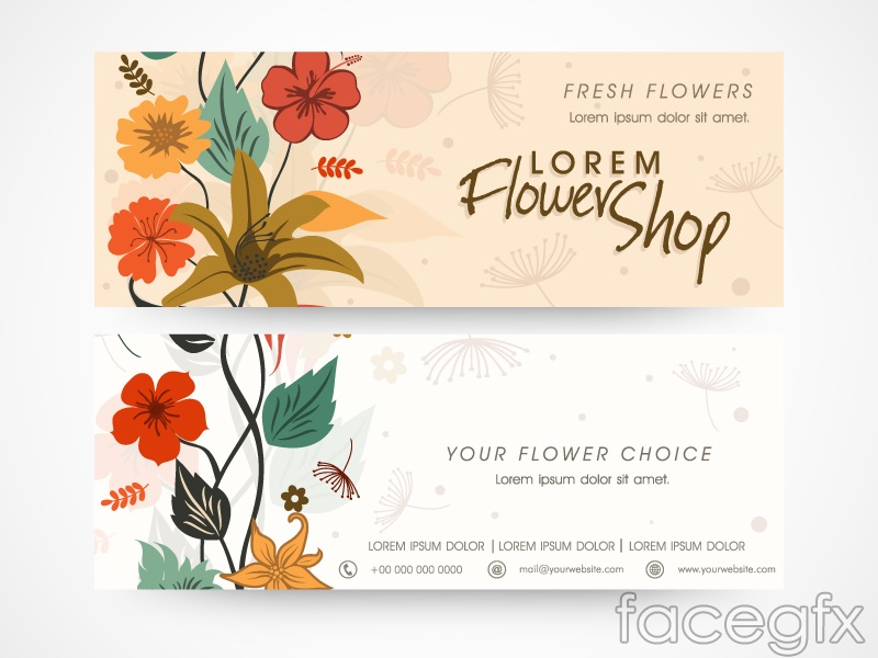 Color flower business card vector