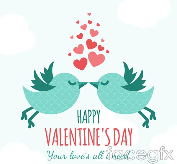 Bird cartoon Valentine's day cards vector