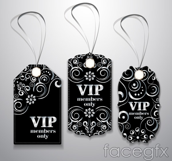 Black patterned VIP card vector