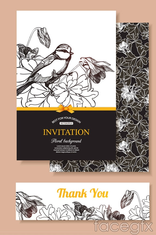Hand-painted birds and flowers card vector