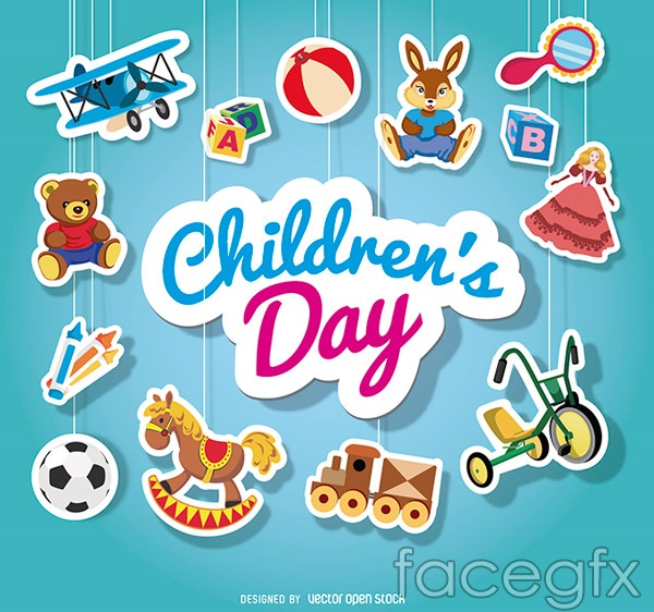 Children's day ornament vector