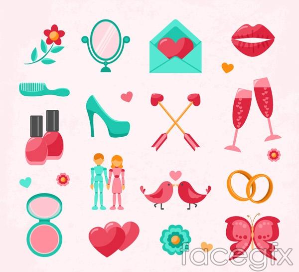 Fresh wedding icons vector