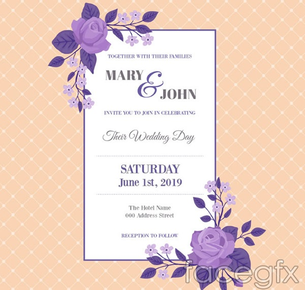 Rose wedding invitations vector