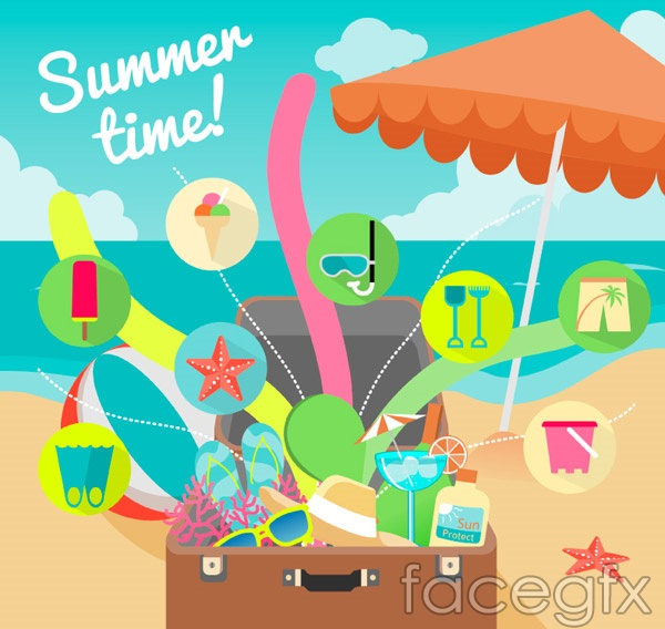 Summer beach holiday illustration vector