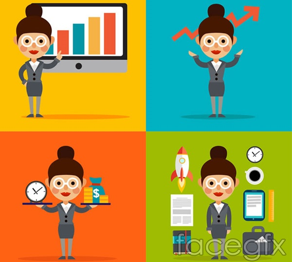 4 business woman illustration vector