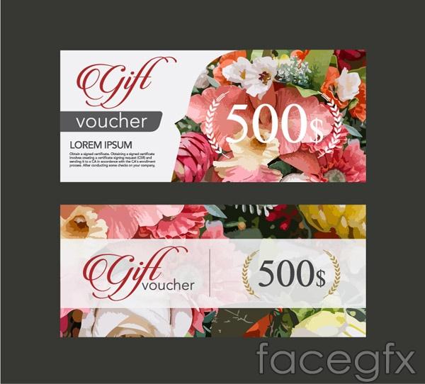 Flower gift card vector