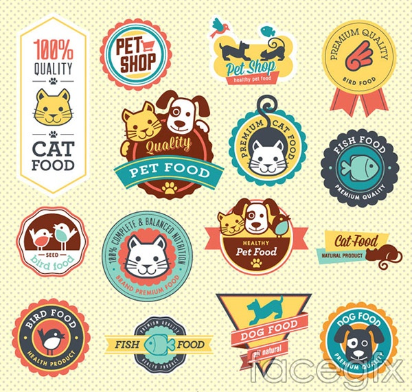 Pet food icons vector