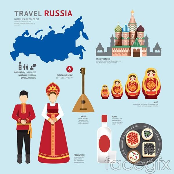 Russia cultural elements vector