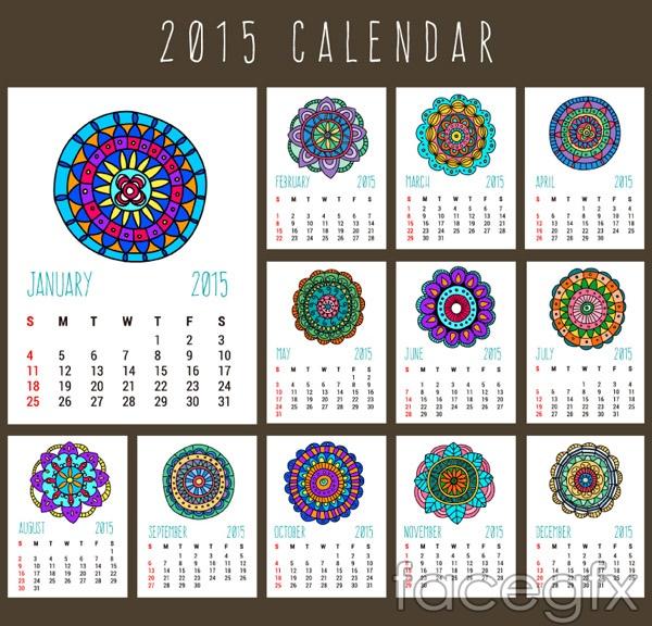 2015 pattern calendar vector