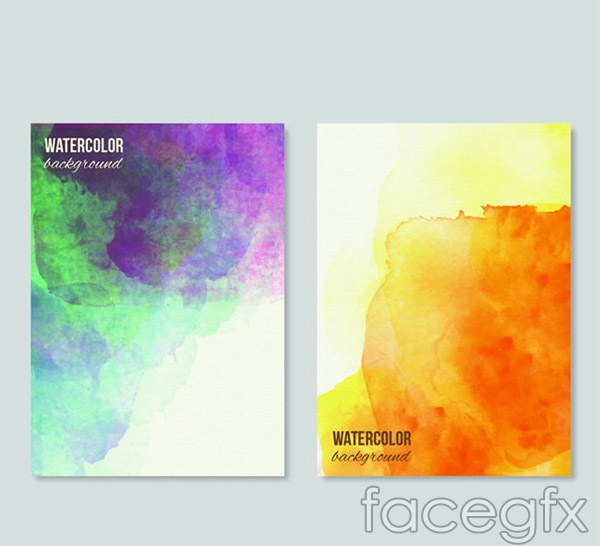 Background watercolor cards vector