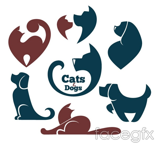 CAT and dog tags vector
