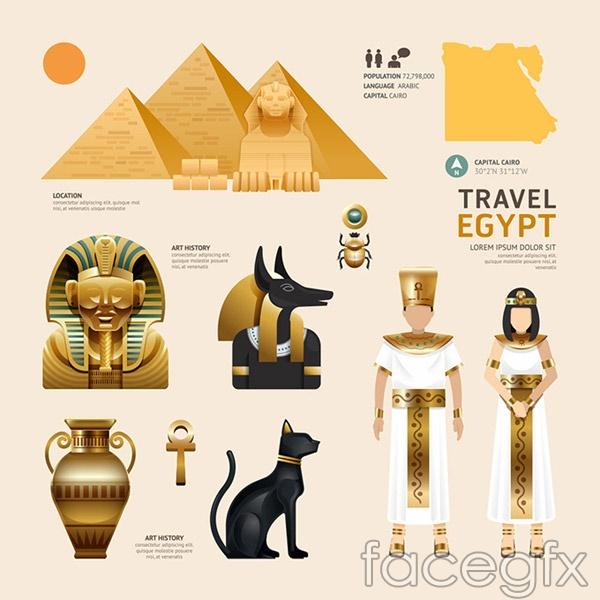 Egypt cultural elements vector