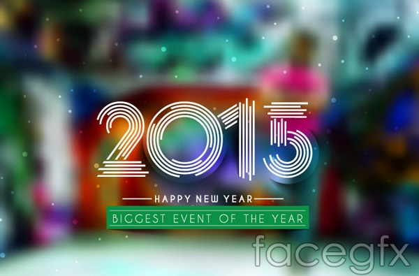 2015 fuzzy new year backgrounds vector
