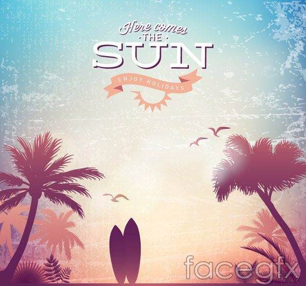 Surfboards and palm trees vector