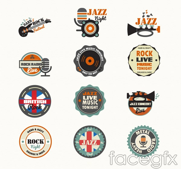 Vintage jazz icons vector