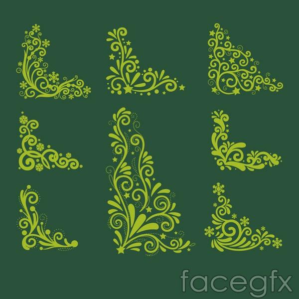 Christmas corner pattern vector