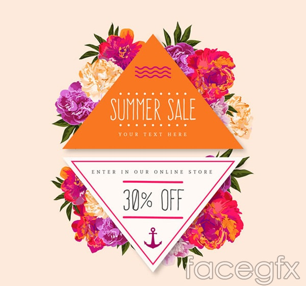 Flowers promotional labels vector