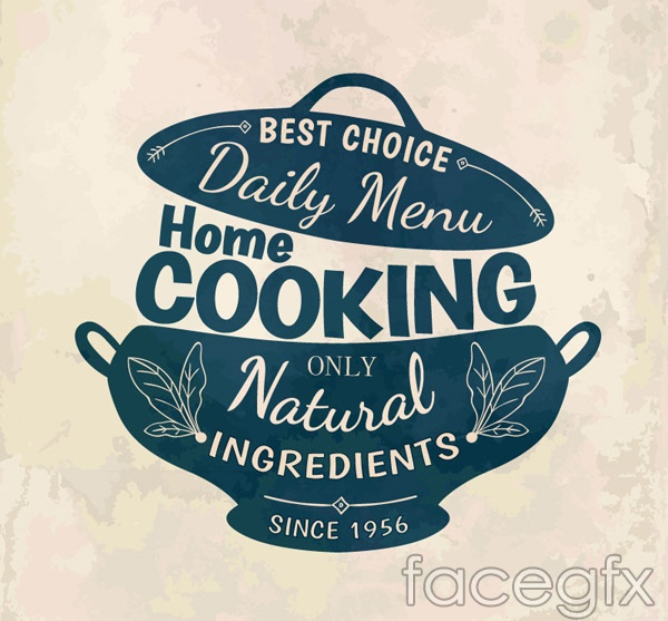Home cooking menu vector