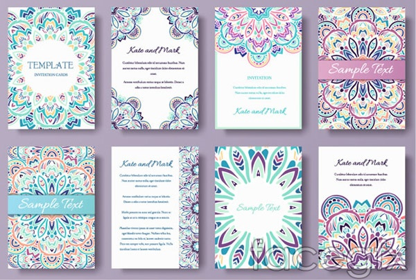 Colorful invitation cards vector