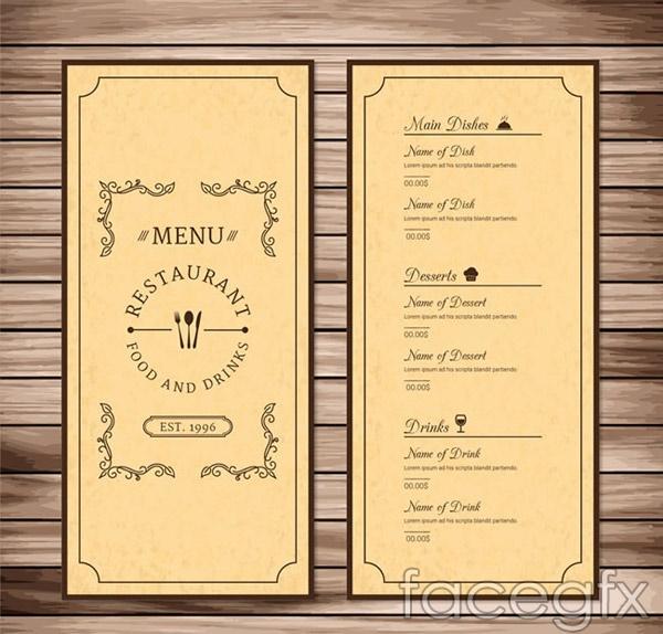 Retro restaurant menu vector