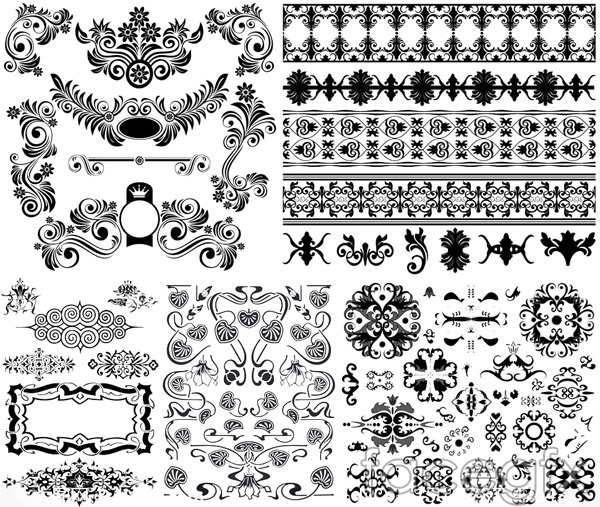 Black and white borders 1 vector