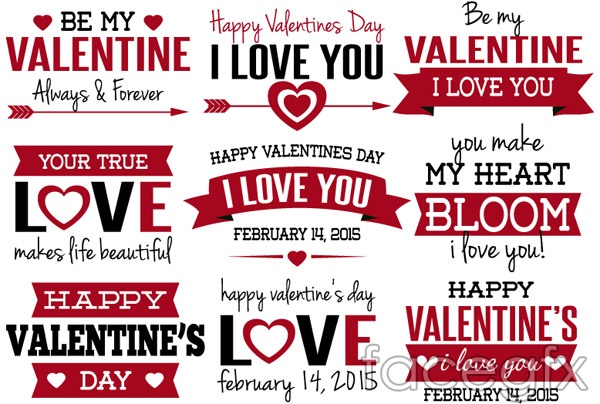 Valentine's Day greeting tags vector
