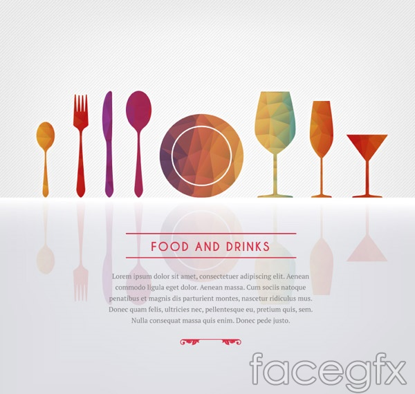 Geometric-shaped dishes menu vector