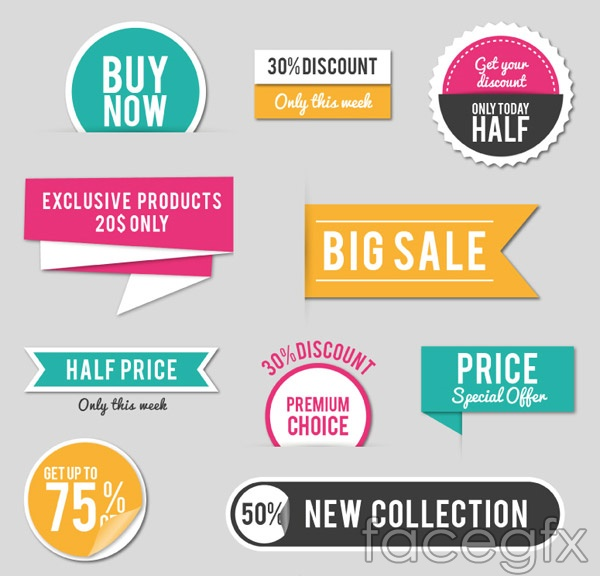 Promotional labels and stickers vector