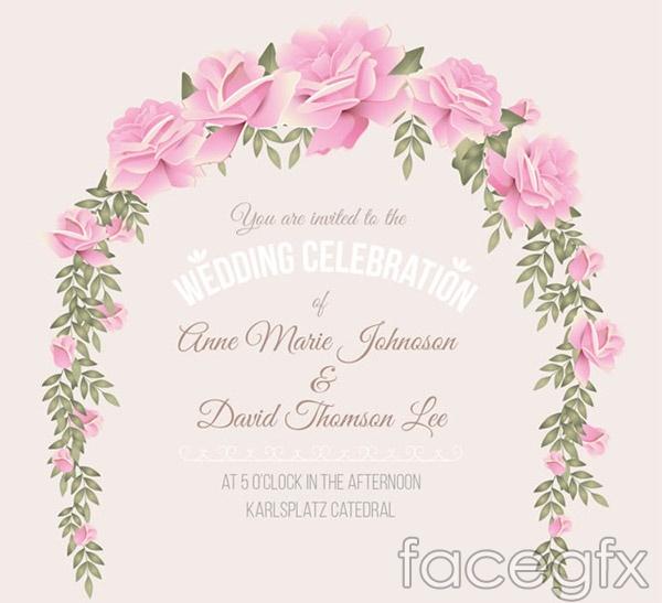 Rose wedding invitation poster vector