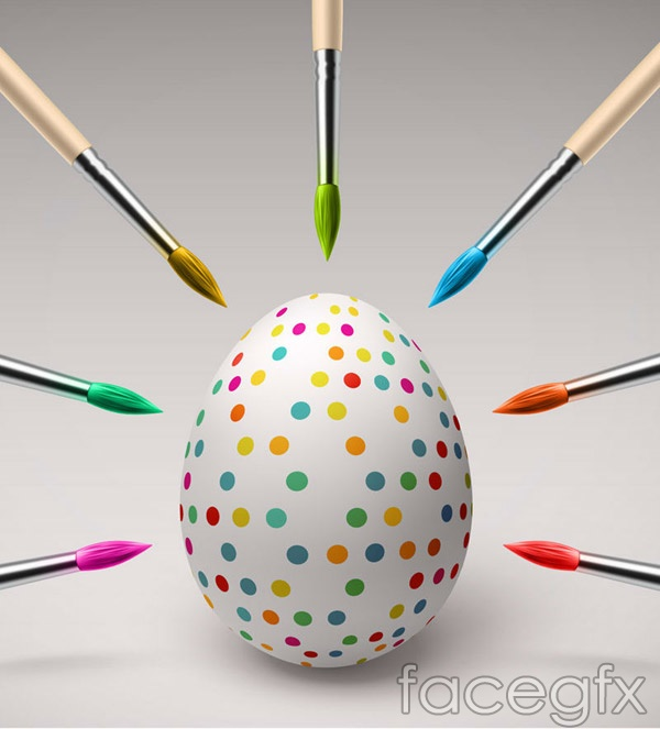 Easter eggs and paintbrushes vector
