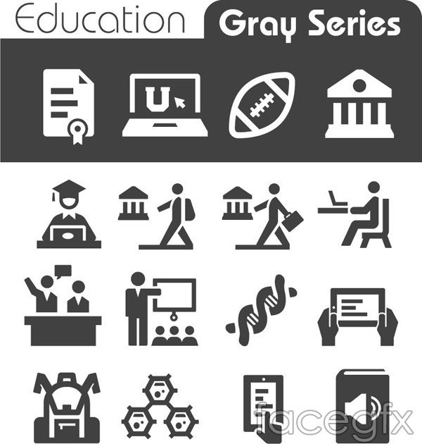 Education element icons vector