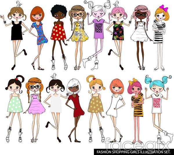 Cartoon fashion women vector