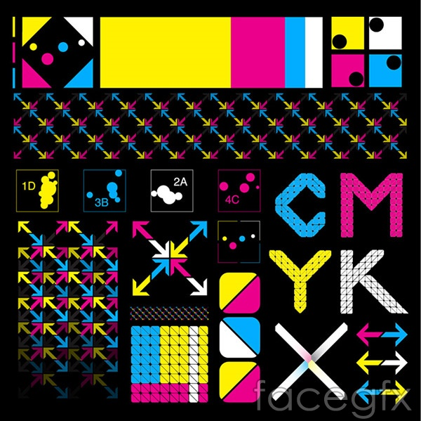 CMYK arrow icon vector