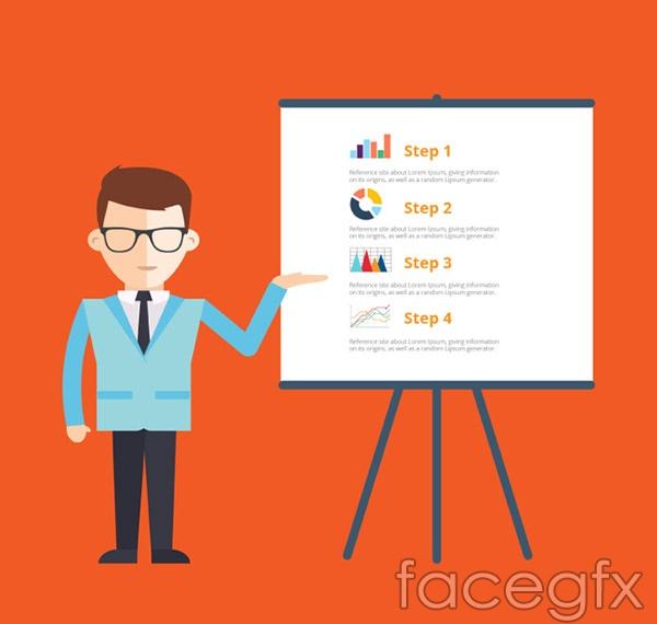 Men business presentation vector