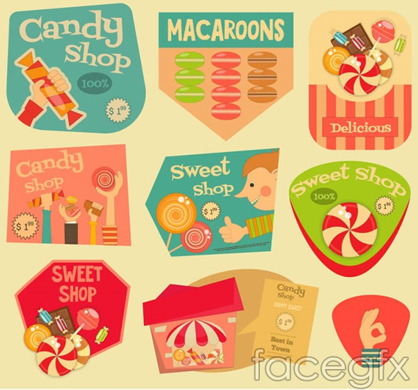 Retro candy labels vector