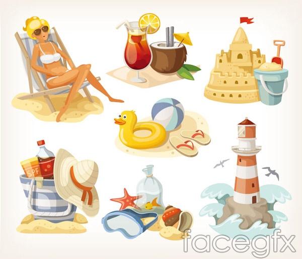 Summer beach elements design vector