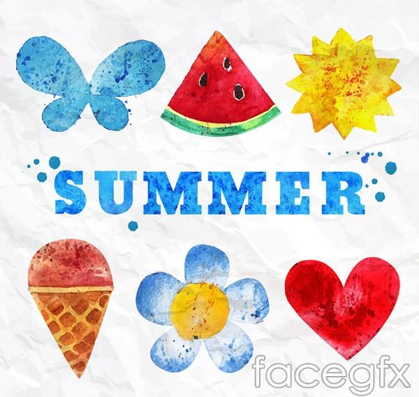 Watercolor summer elements vector