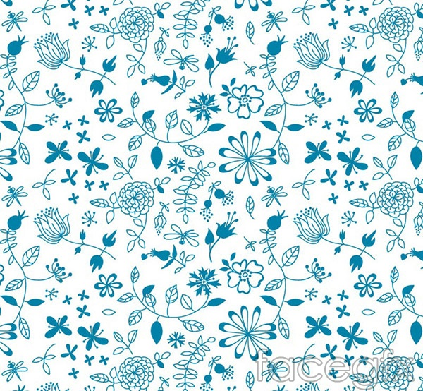 Blue floral seamless background vector