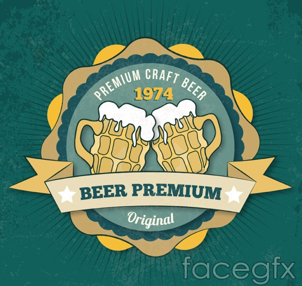 Ribbon beer label vector
