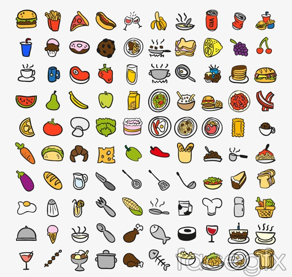 Food and kitchen icons vector